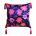 Pink Budding Floral Silk Cushion image