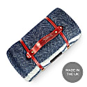 Pure New Wool Waterproof Picnic Blanket - Marine Blue With Grey Stripes image