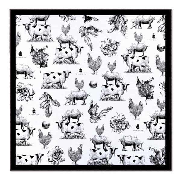 PIG, CHICKEN & COW Branding Pcc 55Cm Square Scarf
