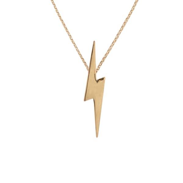 EDGE ONLY Pointed Lightning Bolt Pendant Long Gold