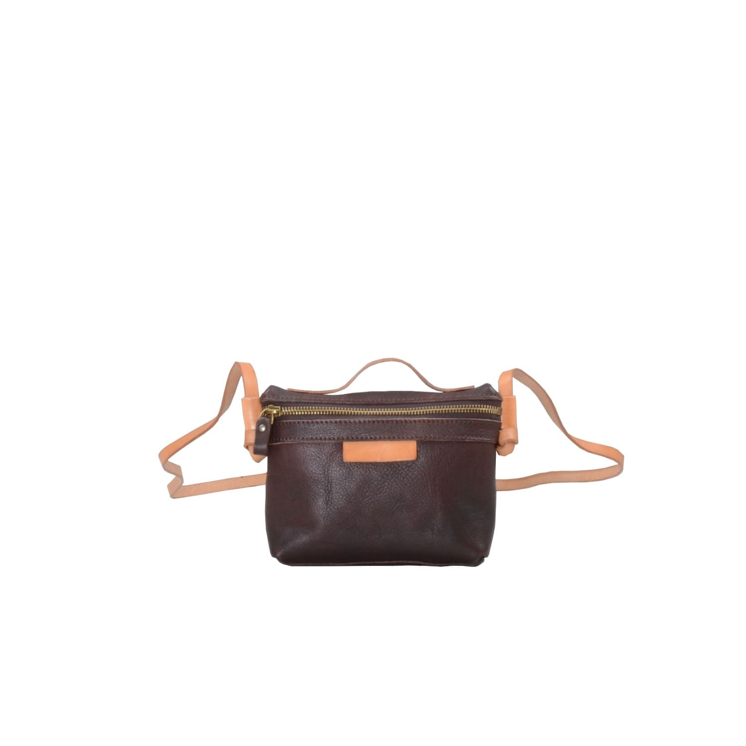 ec70ca042c6a Zip Open Cross Body Leather Bag In Dark Brown