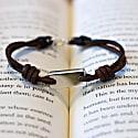 Aeon Bracelet - Recycled Sterling Silver Ingot & Dark Havana English Bridle image