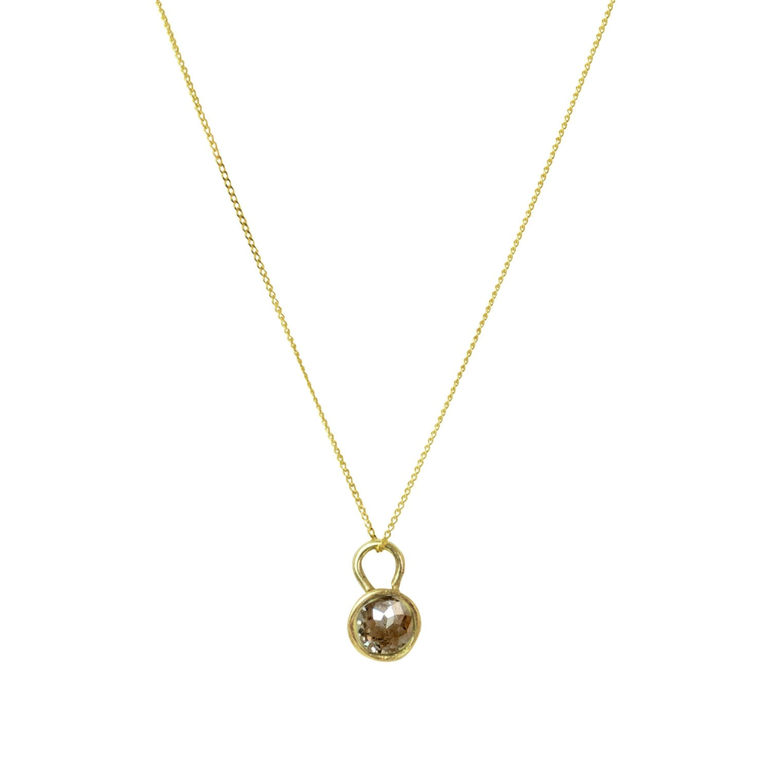 Lily Flo Jewellery - Champagne Rose Cut Diamond Pendant Necklace on Gold
