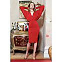 Lea Red Plunge Front & Back Batwing Midi Dress image