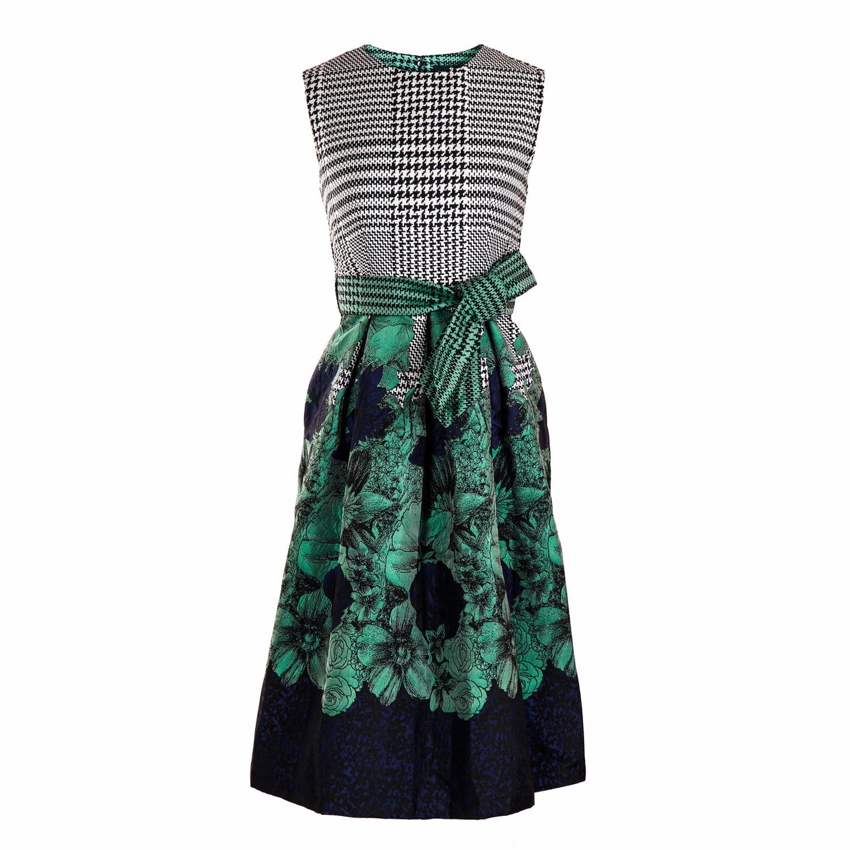 Houndstooth Jacquard Dress in Green | Emily Lovelock | Wolf & Badger