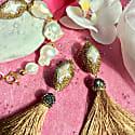 Natural Baroque Pearls With Rhinestones Bordered Pearl Bracelet & Tassel Earrings Gift Set image