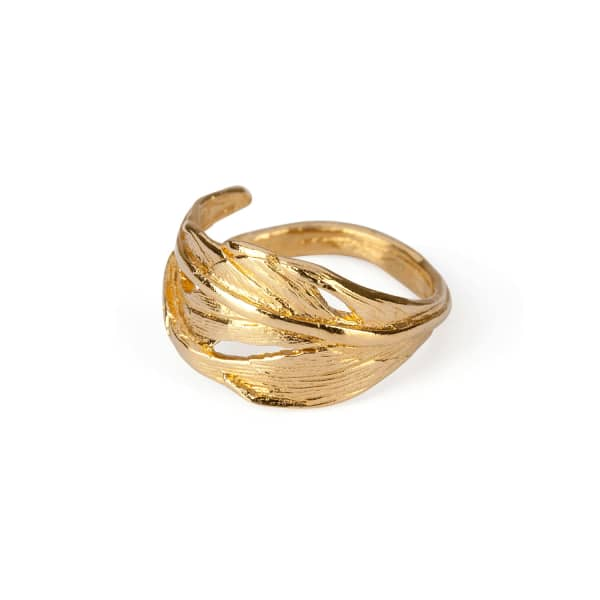 CHUPI I Can Fly Tiny Swan Feather Ring In Gold