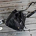 Classic Bucket Drawstring Bag In Black Leather image