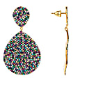 Monte Carlo Statement Teardrop Earring Multi Coloured Cz Gold image
