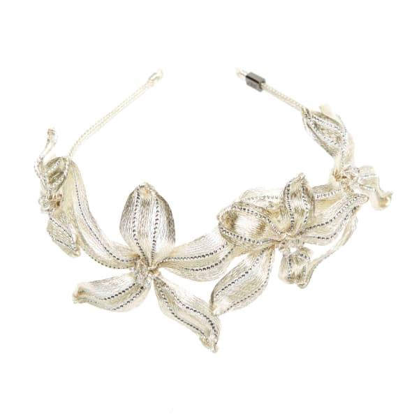 COLETTE MALOUF Mesh Diamond Botanical Headband in Rose Gold