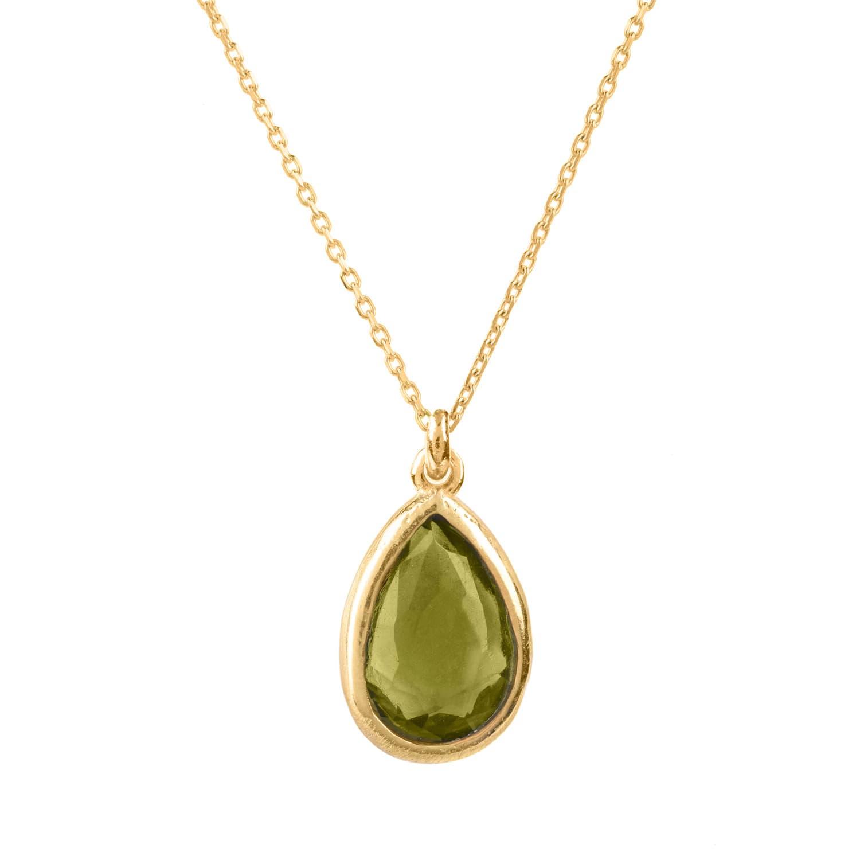 Latelita London Pisa Mini Teardrop Necklace Gold Peridot htRBcRs1J