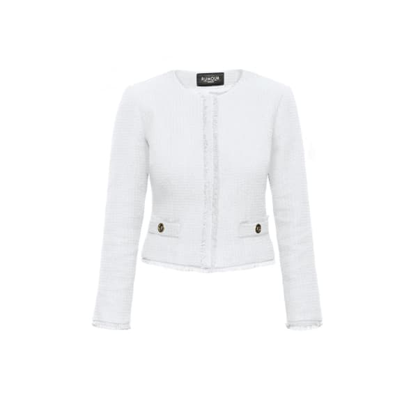 RUMOUR LONDON Gabrielle Cream Tweed Jacket With Fringing Detail in White