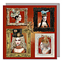Set Of Five Greeting Cards With Envelopes featuring Beauties in Frames image