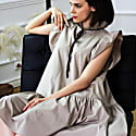 Angela Beige Cotton Dress image