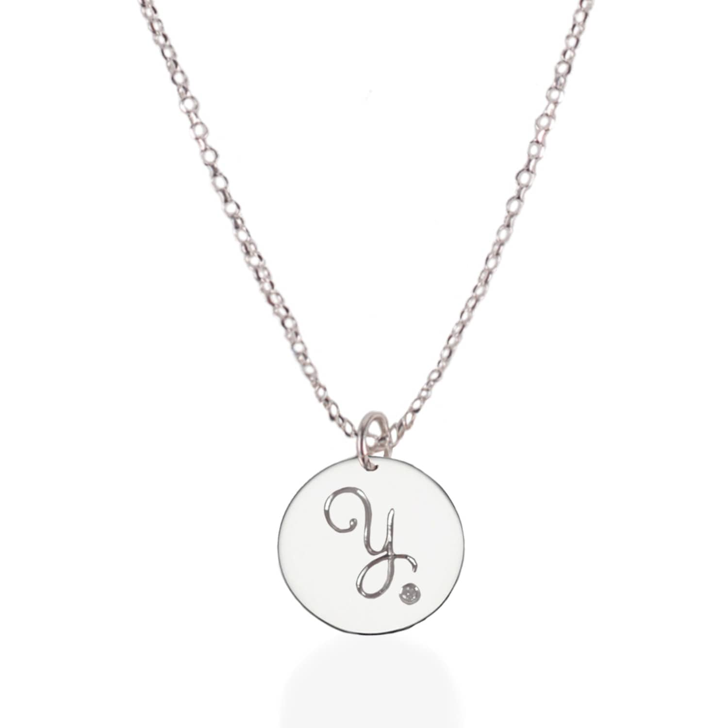 Sterling silver initial necklace with diamond harry rocks wolf sterling silver initial necklace with diamond image aloadofball Gallery