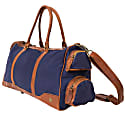 Canvas Leather Columbus Holdall Bag In Navy Blue image