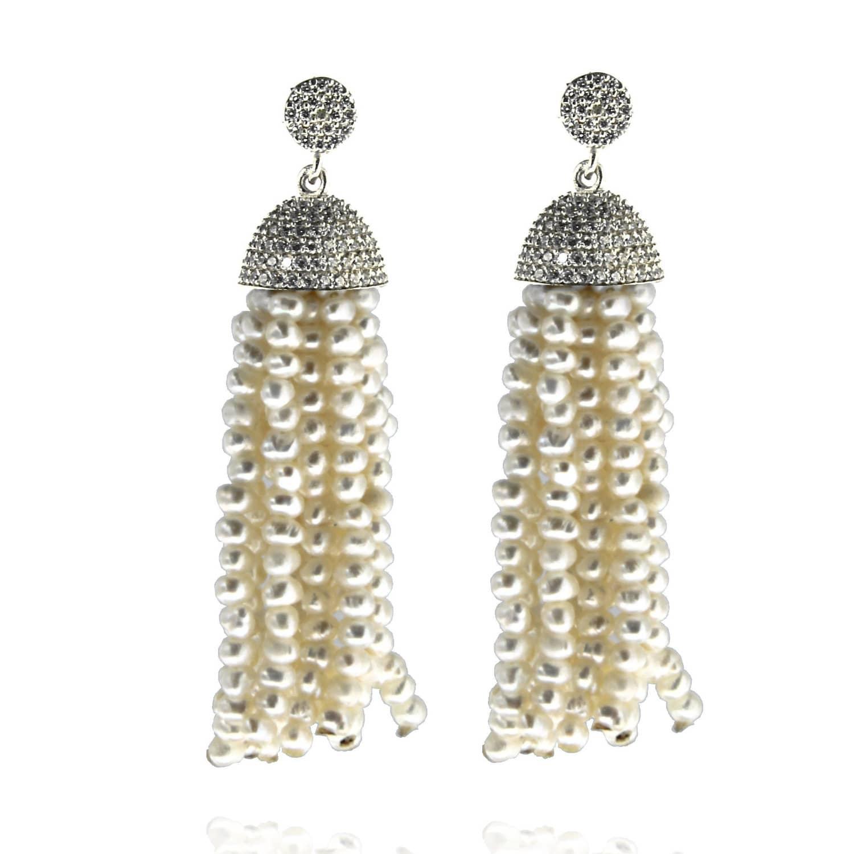 87cfa0c5227fd1 Sterling Silver Pearl Tassel Earrings | Cosanuova | Wolf & Badger
