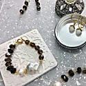 Baroque Pearl With Black Tiger Eye Stones And Smoky Quartz Bracelet image