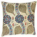 Yellow Leaf Design Silk Suzani Cushion image