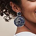 Navy Hand Made Crochet Mandala Earrings image