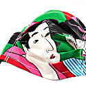 Green Geisha in Mirror - Upcycled Face Mask image