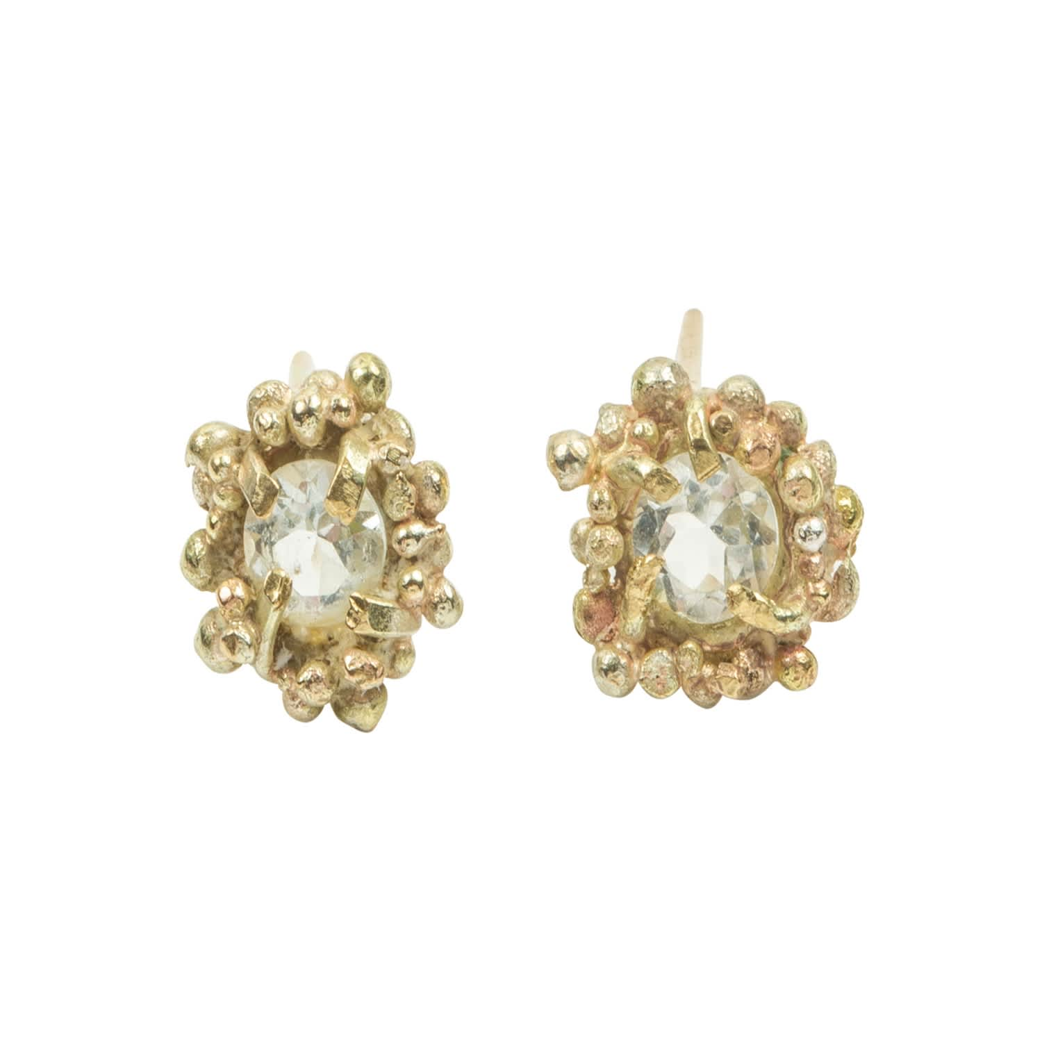 d942b342fdfa7 White Sapphire Solid Gold Stud Earrings by Lily Flo Jewellery