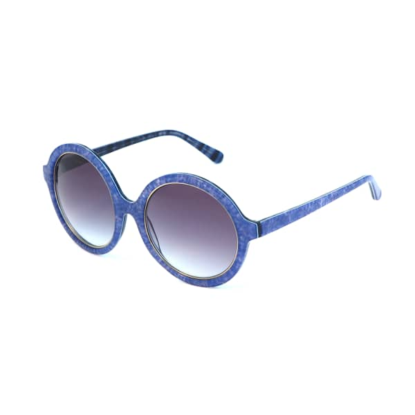 HEIDI LONDON Denim Print Circular Sunglasses Blue