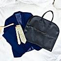 Full Grain Leather Suit Or Garment Carrier In Ebony Black image