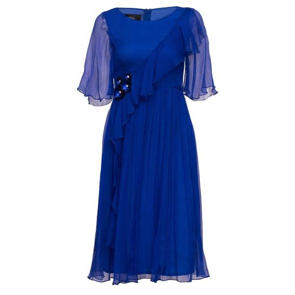 NISSA Elegant Silk Dress With Waist Detail