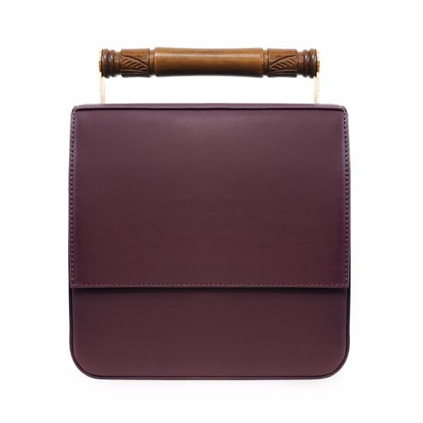 AEVHA LONDON Helve Crossbody In Mulberry With Wooden Handle, Black