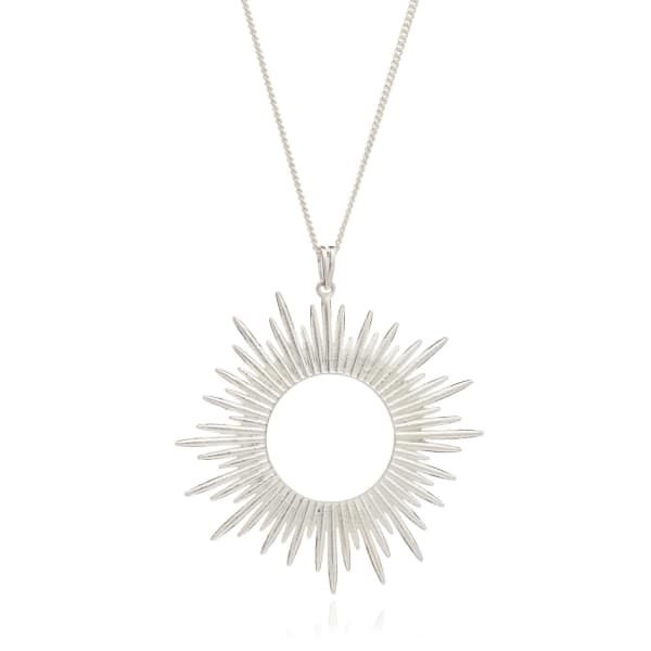 Sunrays Long Necklace In Silver from Wolf & Badger