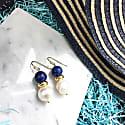 Natural Round Lapis Lazuli & Freshwater Edison Pearl Drop Earrings image