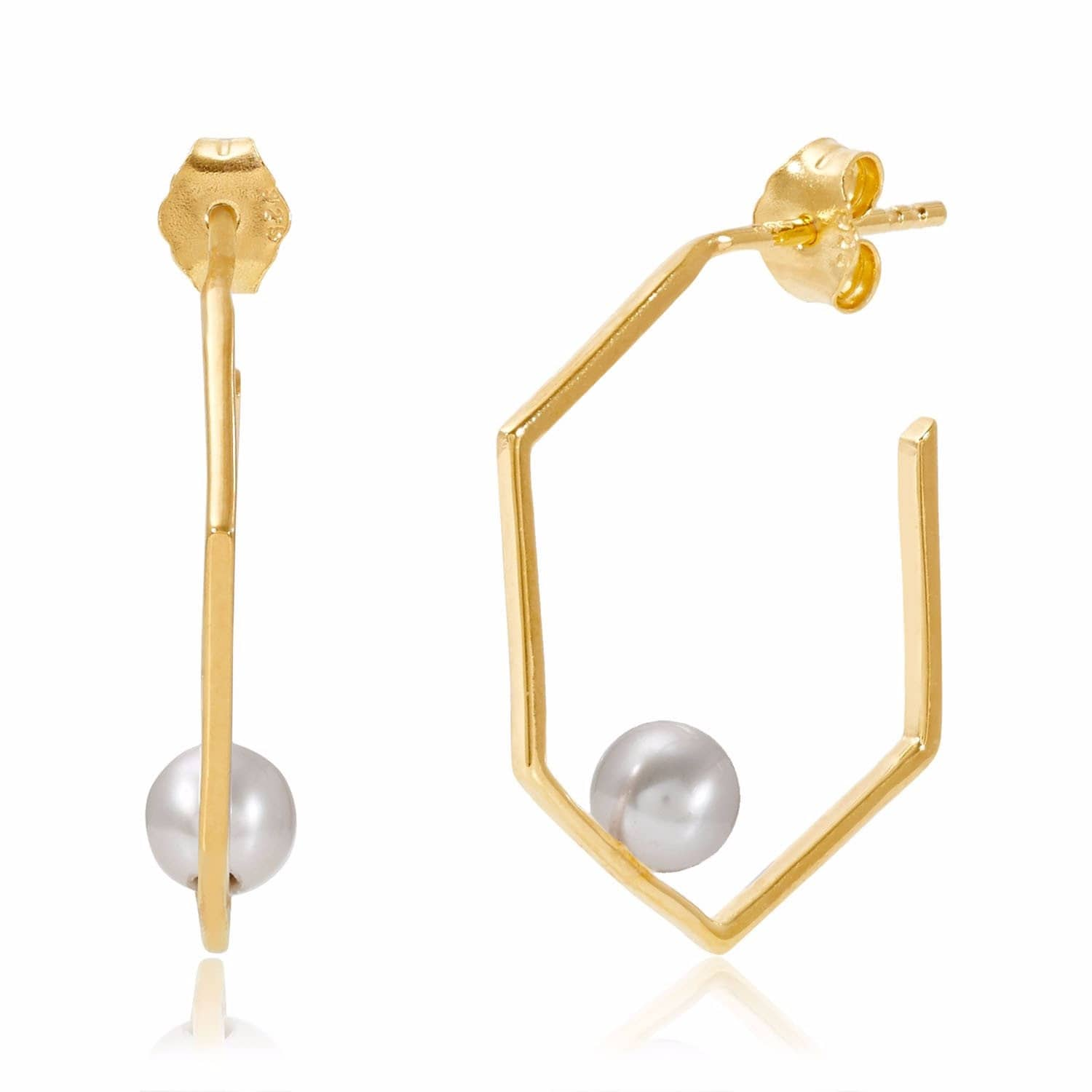 Minerva Gold Earrings with Grey Pearl | Neola | Wolf & Badger