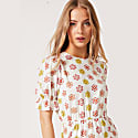 Tilly Round Neck Midaxi Puff Sleeve Dress In White Daisy image