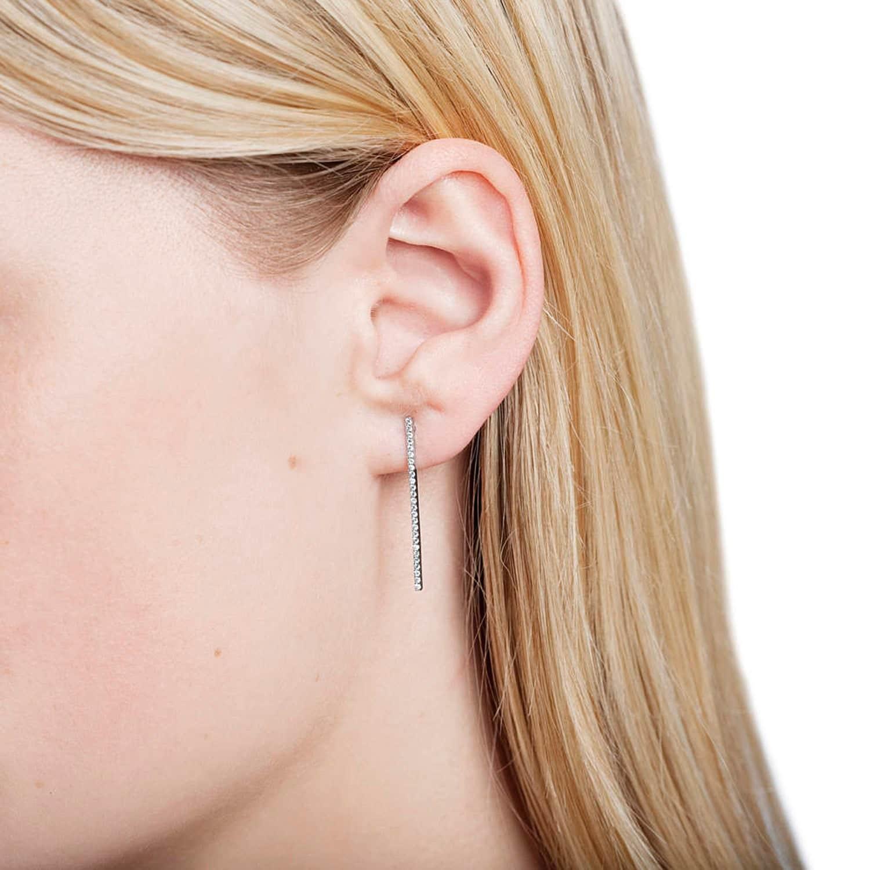 Hold On Long Bar Earrings In Rose Gold Image