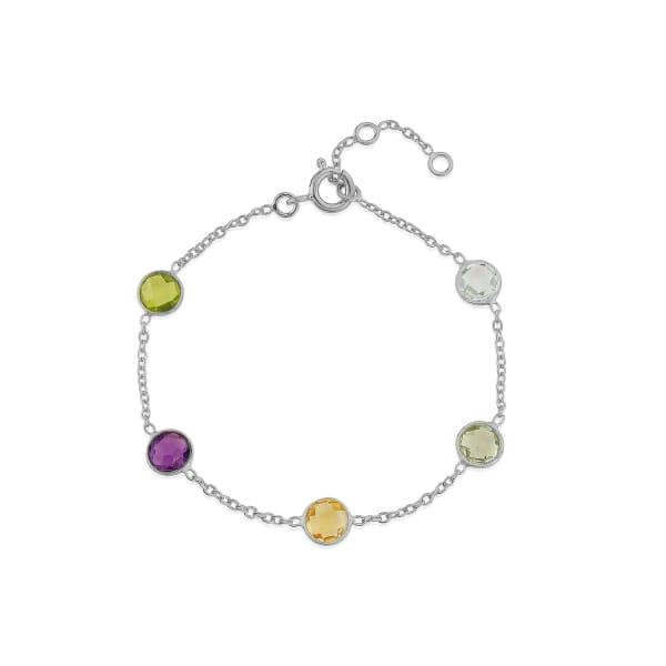 Chennai Multi Gemstone & Sterling Silver Bracelet by Auree Jewellery