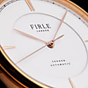 Firle Sennen Automatic in White & Rose Gold With Brown Faux Croc Strap | Swiss Calibre: STP1-11 image