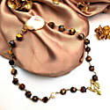 Faceted Tiger Eyes With Baroque Pearls Chain Necklace image