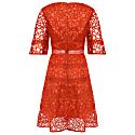 Orange Lace Cut Work Midi Dress image