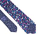 Navy Mosaic Printed Bourette Silk Tie image