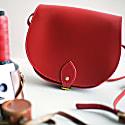 Red Leather Saddle Bag With Back Pocket image