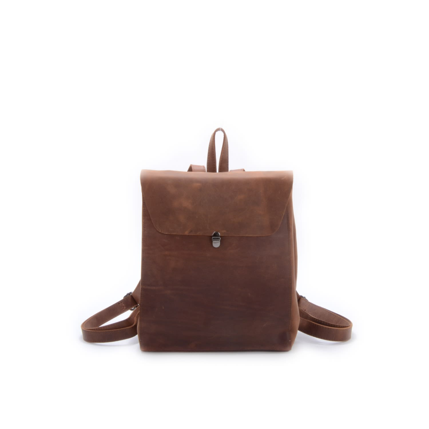 3e99e029f3 Minimalist Worn Look Genuine Leather Backpack In Brown image