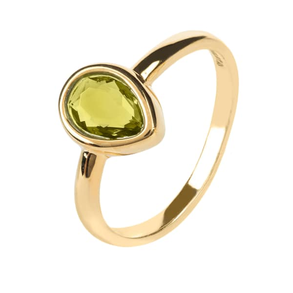 Pisa Mini Teardrop Ring Gold Peridot