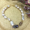 Baroque Freshwater Pearls With Rhinestone Bordered Amethyst Short Necklace image