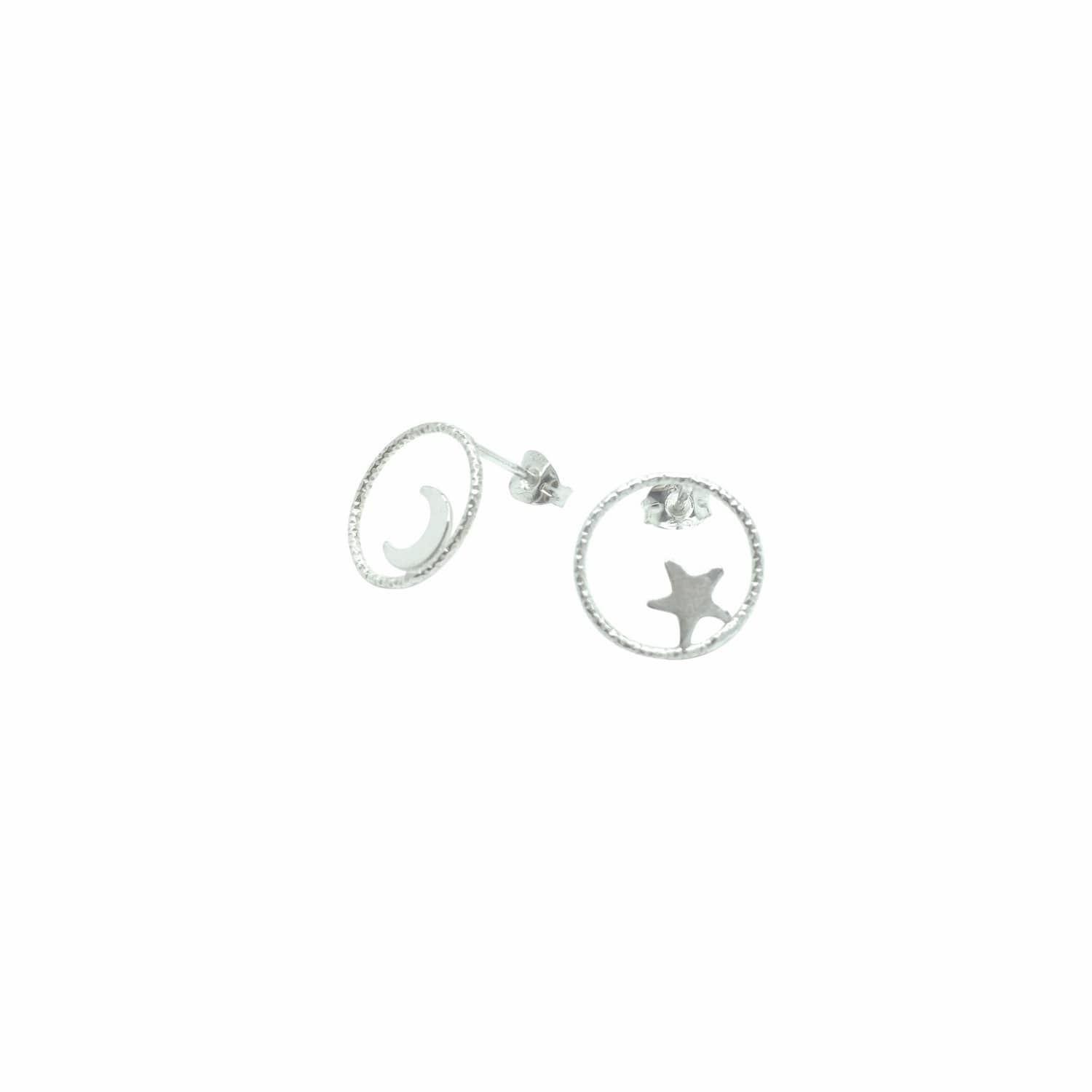 38ce10913a1 Large Circle Star and Moon Stud Earrings Sterling Silver by Lucy Ashton  Jewellery