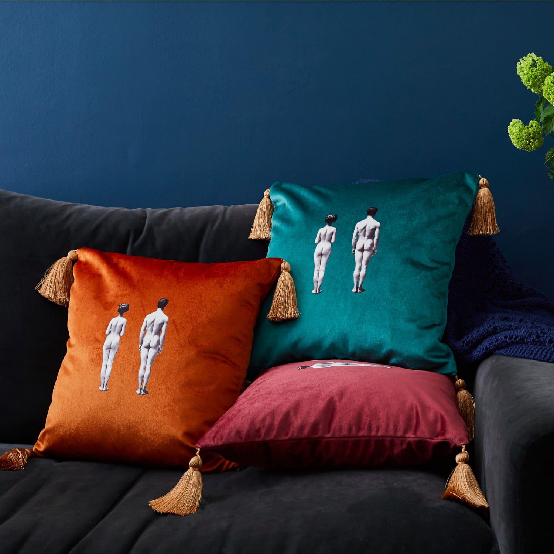Models Velvet Cushion Burnt Orange Melody Rose London Wolf Badger