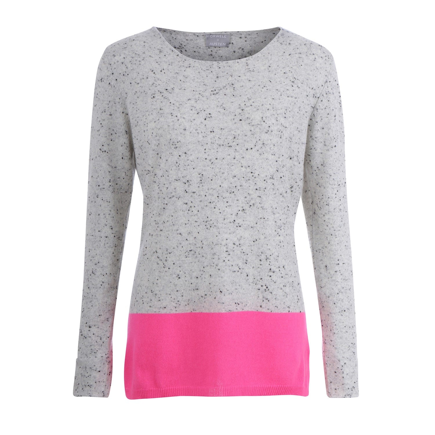 Speckled Grey & Neon Pink Colour Block Sweater | Orwell   Austen ...