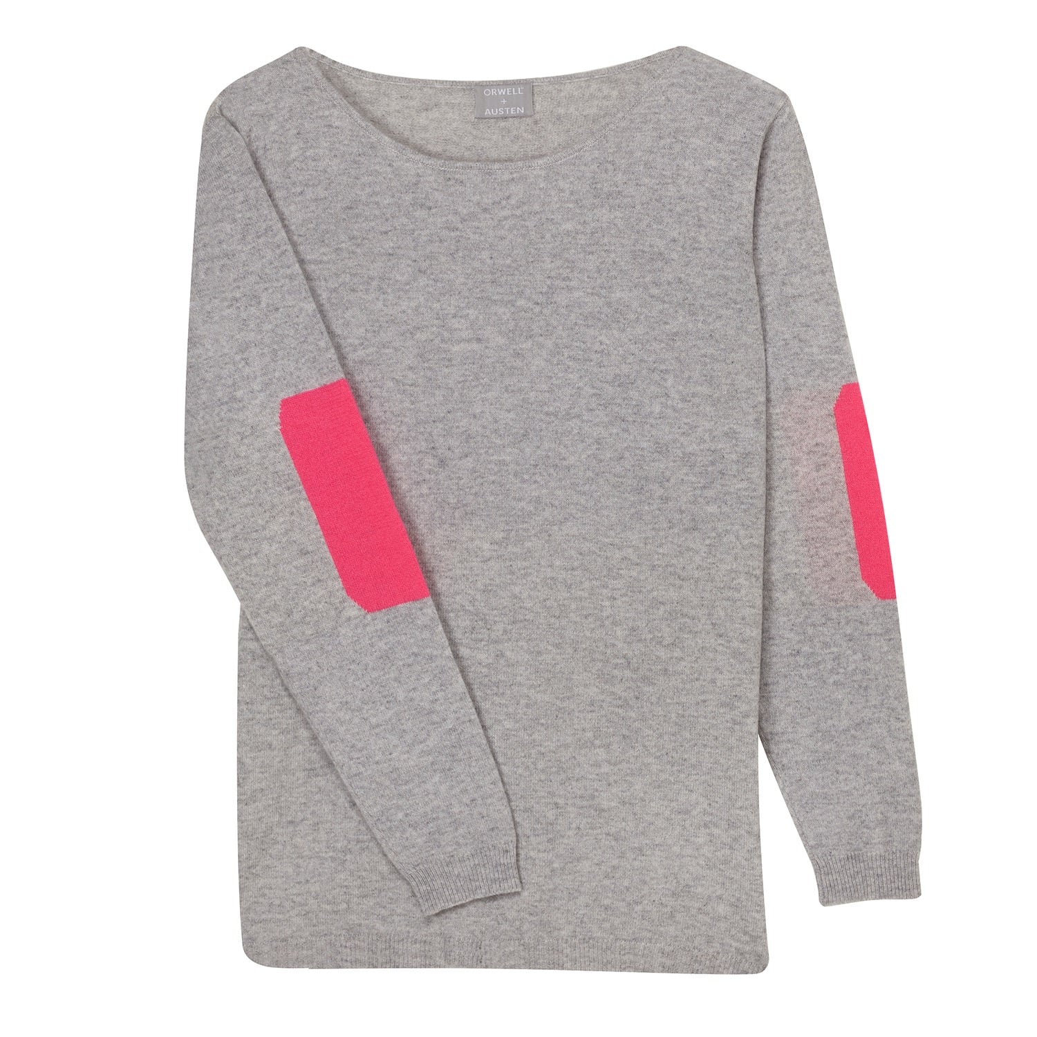 316055ec995 Grey   Neon Pink Elbow Patch Sweater image