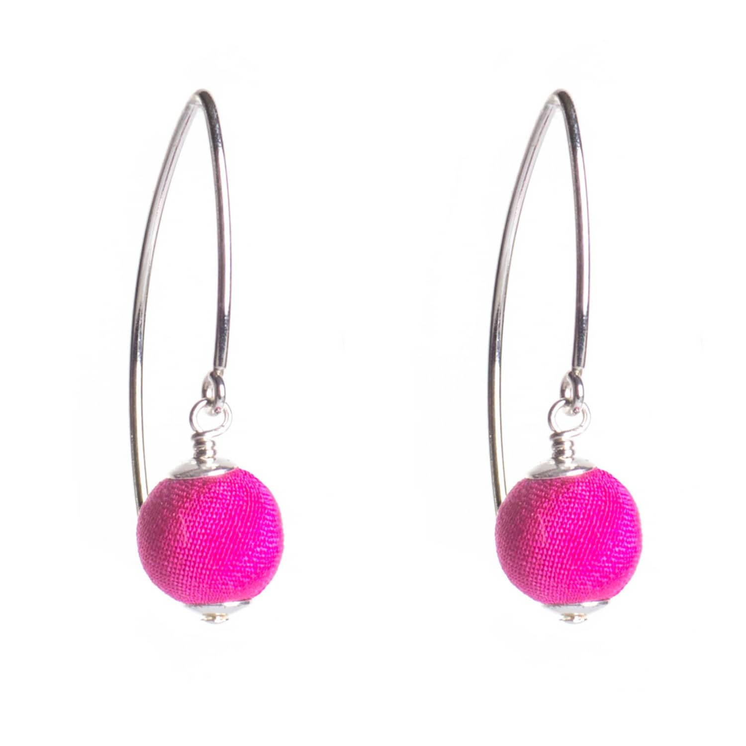 Hot Pink Silk Silver Marquise Earrings