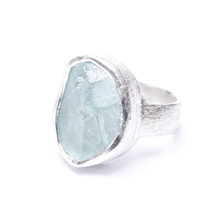 eb3d9145aa01 Aquamarine Natural Gemstone Handmade Chunky Silver Ring
